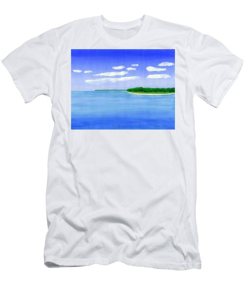 Men's T-Shirt (Slim Fit) featuring the painting Sag Harbor, Long Island by Dick Sauer