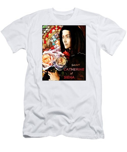 Men's T-Shirt (Slim Fit) featuring the painting Saint Catherine by Suzanne Silvir