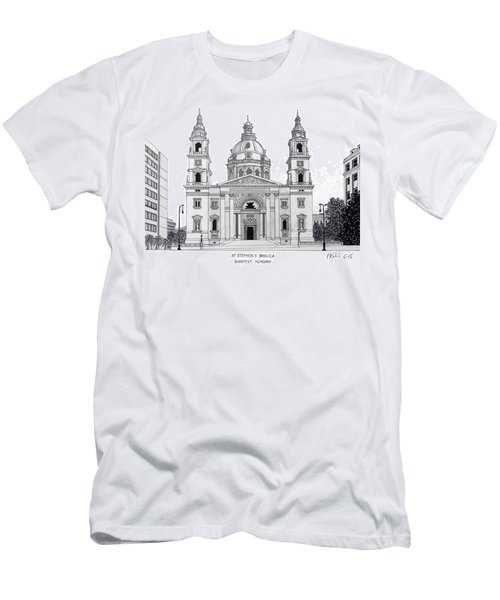Men's T-Shirt (Slim Fit) featuring the drawing Saint Stephens Basilica by Frederic Kohli