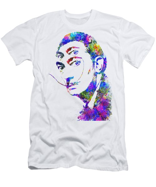 Salvador Dali Watercolor Digital Portrait Optic Illusion 2 Men's T-Shirt (Athletic Fit)