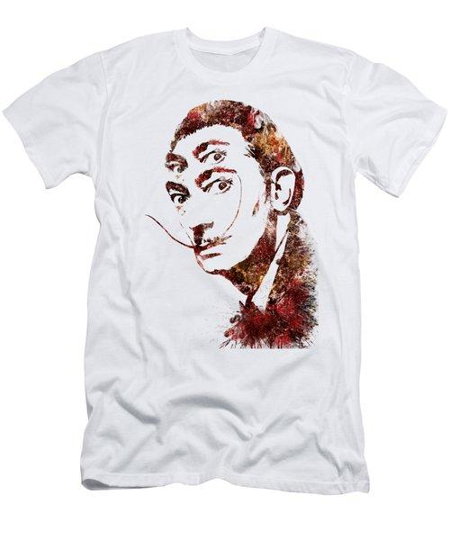 Men's T-Shirt (Slim Fit) featuring the painting Salvador Dali Watercolor Digital Portrait Optic Illusion Fall Colors by Georgeta Blanaru