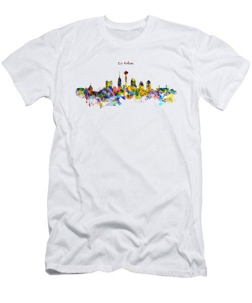 San Antonio Skyline Silhouette Men's T-Shirt (Slim Fit) by Marian Voicu