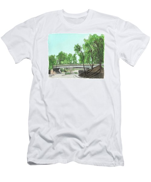 Men's T-Shirt (Athletic Fit) featuring the painting San Diego Recruit Depot Welcome by Betsy Hackett