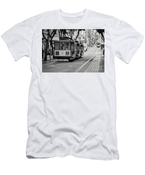 San Francisco Cable Cars Men's T-Shirt (Slim Fit) by Eddie Yerkish