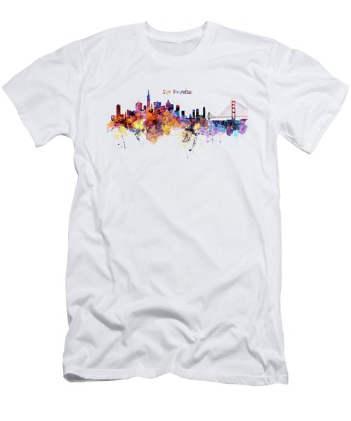 San Francisco Watercolor Skyline Men's T-Shirt (Slim Fit) by Marian Voicu