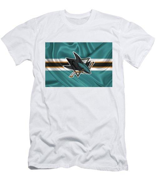 San Jose Sharks - 3 D Badge Over Silk Flagsan Jose Sharks - 3 D Badge Over Silk Flag Men's T-Shirt (Athletic Fit)