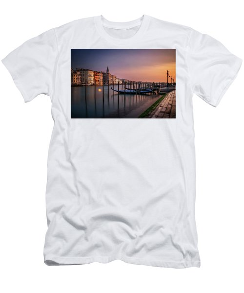 San Marco Campanile With Gondolas At Grand Canal During Calm Sunrise, Venice, Italy, Europe. Men's T-Shirt (Athletic Fit)