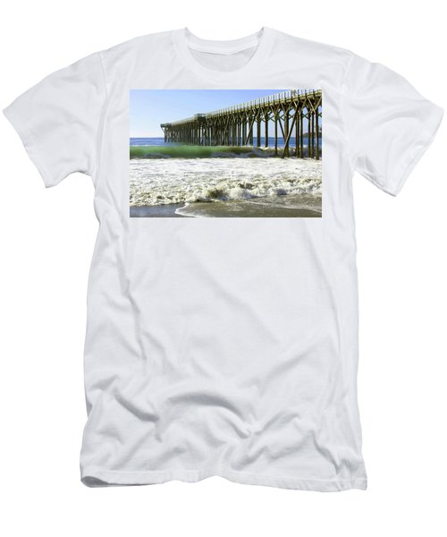Men's T-Shirt (Slim Fit) featuring the photograph San Simeon Pier by Art Block Collections