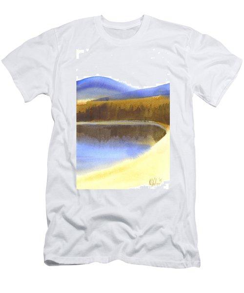 Men's T-Shirt (Slim Fit) featuring the painting Sandy Blue Dusky Mountain Lake by Kip DeVore