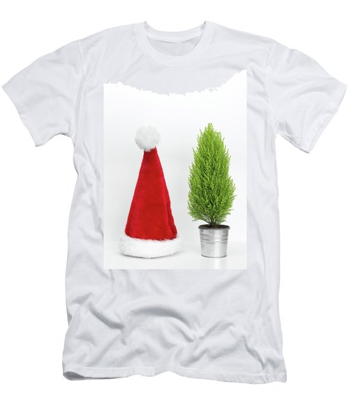 Santa Hat And Little Christmas Tree Men's T-Shirt (Slim Fit) by GoodMood Art