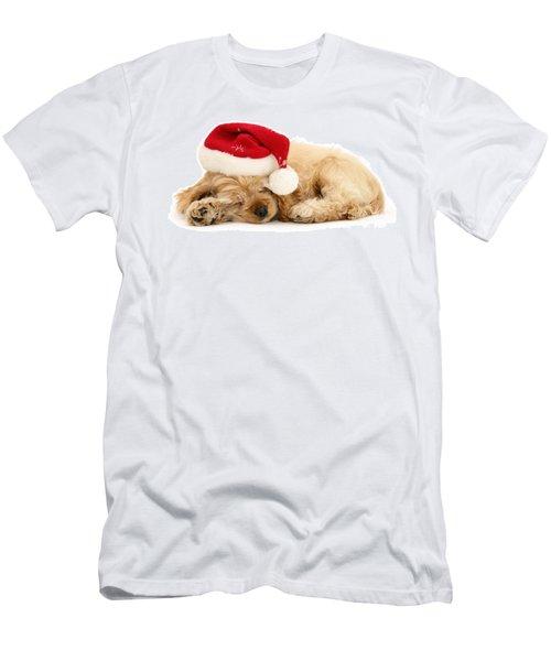 Santa's Sleepy Spaniel Men's T-Shirt (Athletic Fit)