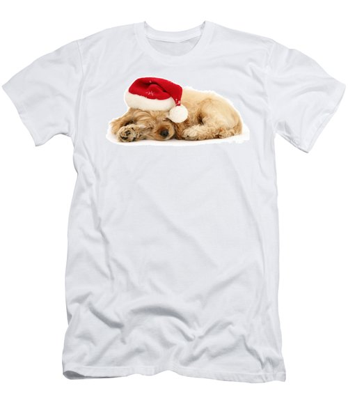 Santa's Sleepy Spaniel Men's T-Shirt (Athletic Fit)
