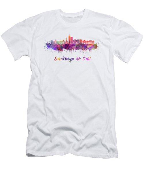 Santiago De Cali Skyline In Watercolor Men's T-Shirt (Athletic Fit)