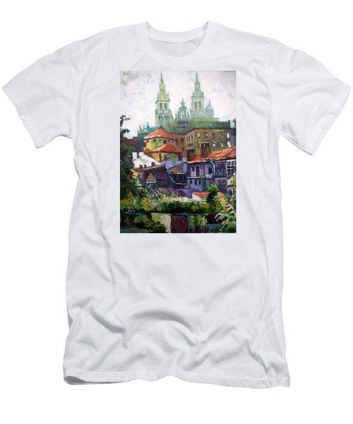 Men's T-Shirt (Slim Fit) featuring the painting Santiago  Spain by Paul Weerasekera