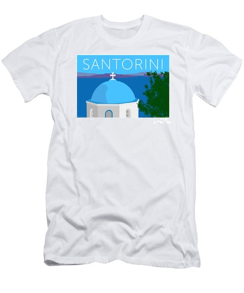 Men's T-Shirt (Athletic Fit) featuring the digital art Santorini Dome - Blue by Sam Brennan