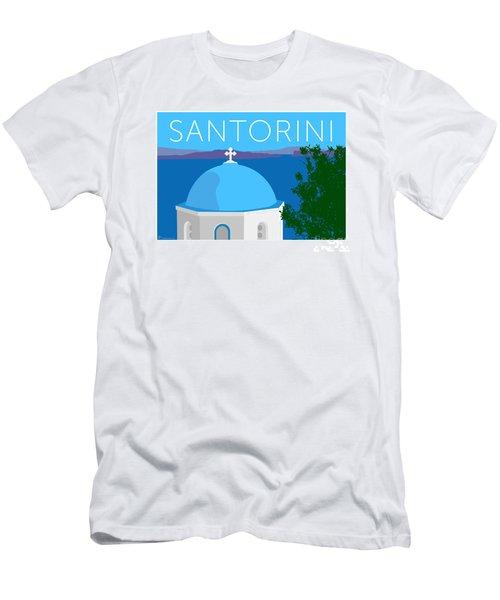 Santorini Dome - Blue Men's T-Shirt (Athletic Fit)