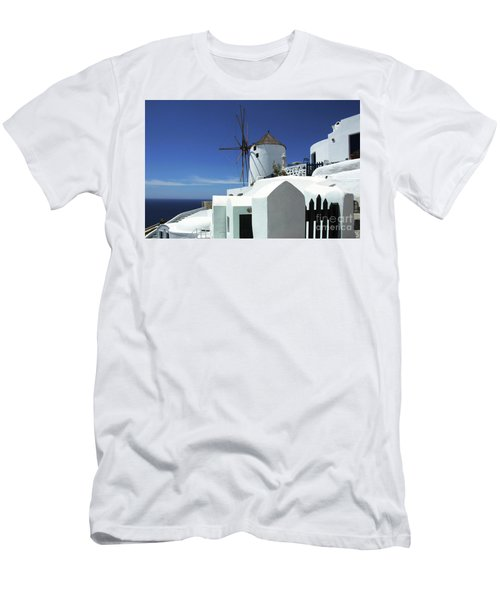 Men's T-Shirt (Slim Fit) featuring the photograph Santorini Greece Architectual Line 5 by Bob Christopher