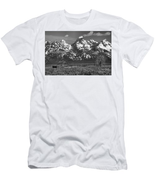 Scenic Mormon Homestead Black And White Men's T-Shirt (Slim Fit) by Adam Jewell