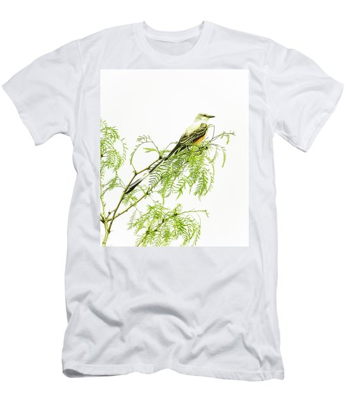 Men's T-Shirt (Slim Fit) featuring the photograph Scissortail On Mesquite by Robert Frederick