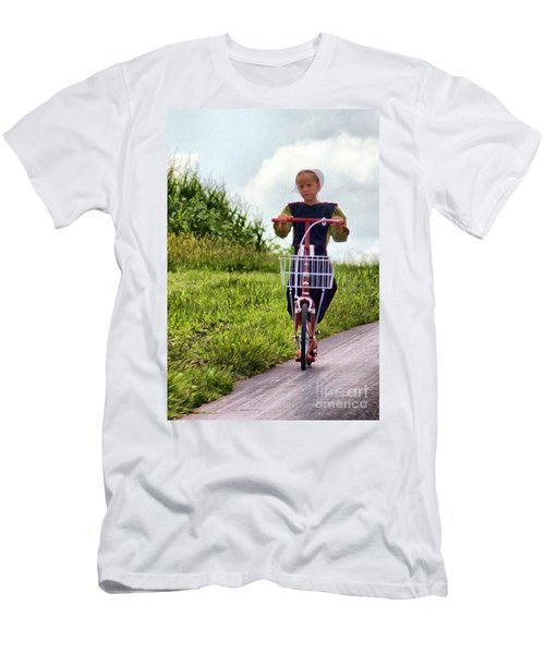 Men's T-Shirt (Slim Fit) featuring the photograph Scootin' by Polly Peacock