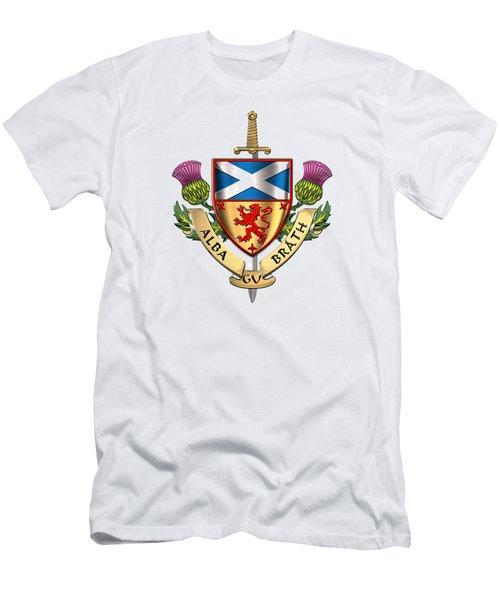 Scotland Forever - Alba Gu Brath - Symbols Of Scotland Over White Leather Men's T-Shirt (Athletic Fit)