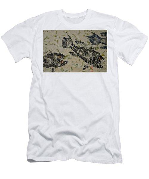 Sea Bass School On Olive Mango Paper  Men's T-Shirt (Athletic Fit)