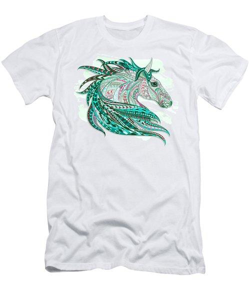 Sea Green Ethnic Horse Men's T-Shirt (Athletic Fit)