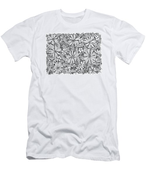 Sea Of Flowers And Seeds At Night Horizontal Men's T-Shirt (Slim Fit) by Tamara Kulish