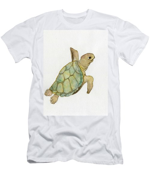 Men's T-Shirt (Slim Fit) featuring the painting Sea Turtle by Annemeet Hasidi- van der Leij