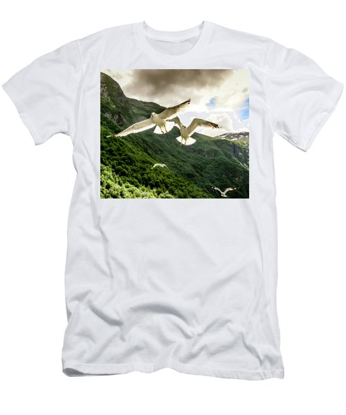 Men's T-Shirt (Athletic Fit) featuring the photograph Seagulls Over The Fjord by KG Thienemann
