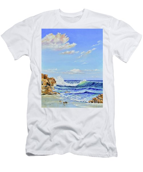 Men's T-Shirt (Athletic Fit) featuring the painting Seascape Beach by Mary Scott