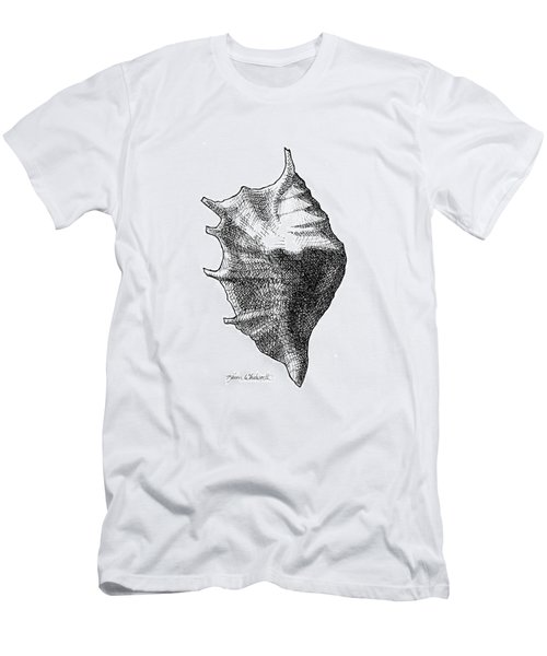 Men's T-Shirt (Slim Fit) featuring the drawing Seashell 1 - Nautical Beach Drawing by Karen Whitworth