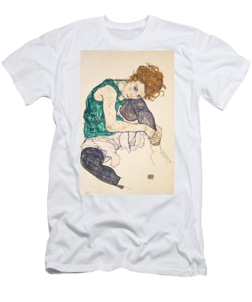 Seated Woman With Legs Drawn Up Men's T-Shirt (Athletic Fit)