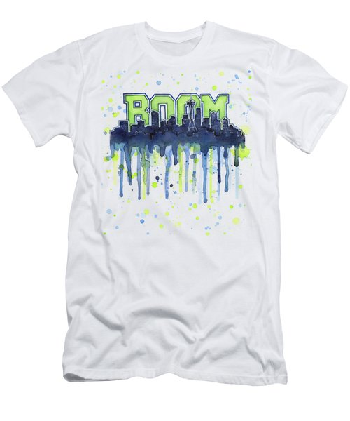 Seattle 12th Man Legion Of Boom Watercolor Men's T-Shirt (Athletic Fit)