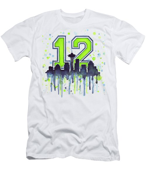 Seattle Seahawks 12th Man Art Men's T-Shirt (Slim Fit) by Olga Shvartsur