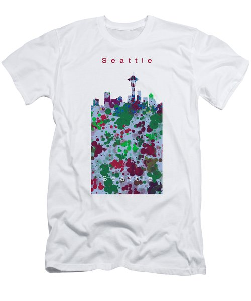 Seattle Skyline .3 Men's T-Shirt (Slim Fit) by Alberto RuiZ