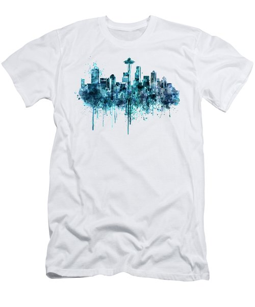 Seattle Skyline Monochrome Watercolor Men's T-Shirt (Slim Fit) by Marian Voicu