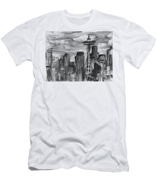Seattle Skyline Space Needle Men's T-Shirt (Athletic Fit)