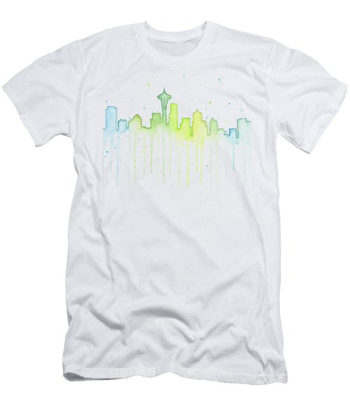 Seattle Skyline Watercolor  Men's T-Shirt (Slim Fit) by Olga Shvartsur