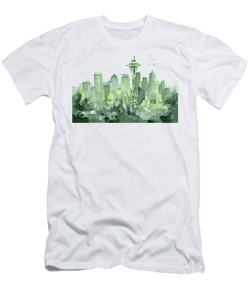 Seattle Watercolor Men's T-Shirt (Slim Fit) by Olga Shvartsur