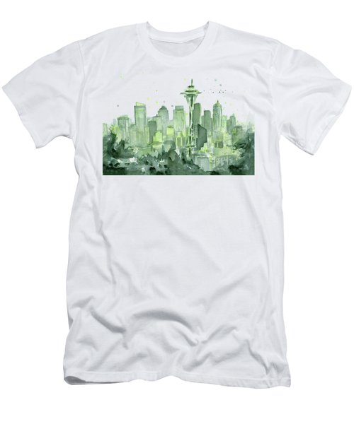 Seattle Watercolor Men's T-Shirt (Athletic Fit)
