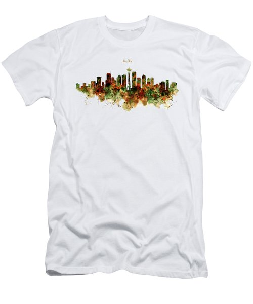 Men's T-Shirt (Slim Fit) featuring the mixed media Seattle Watercolor Skyline Poster by Marian Voicu