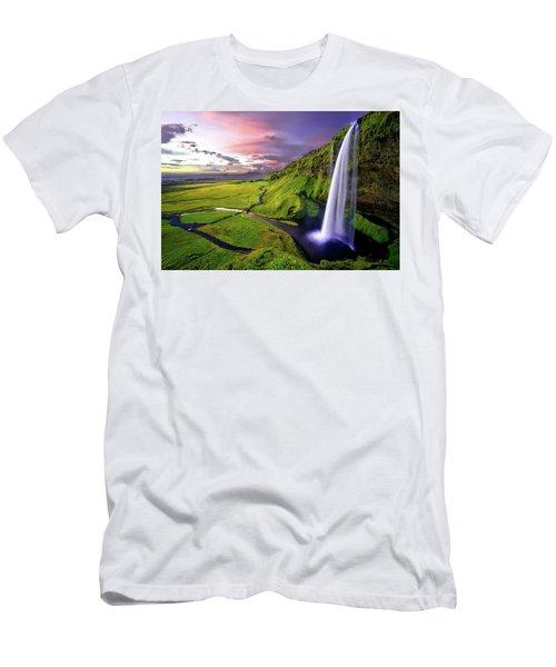 Seljalandsfoss Waterfall Men's T-Shirt (Athletic Fit)