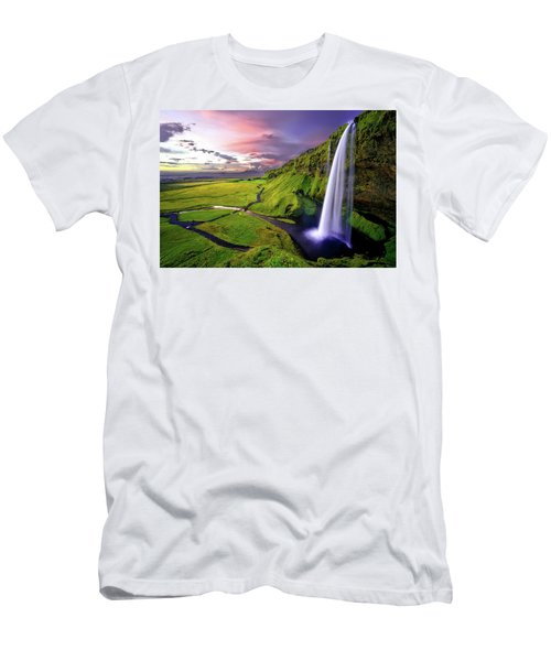 Seljalandsfoss Waterfall Men's T-Shirt (Athletic Fit)