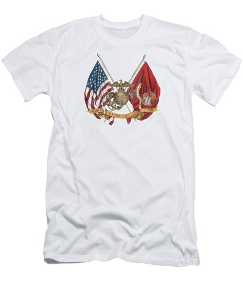 Semper Fidelis Crossed Flags Men's T-Shirt (Athletic Fit)