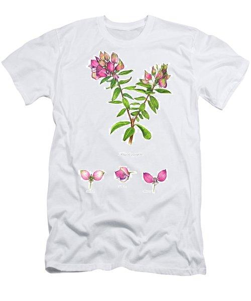 Men's T-Shirt (Slim Fit) featuring the painting Septemberbossie  Polygala Myrtifolia by Heidi Kriel