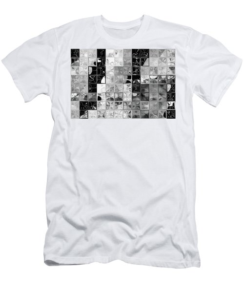 Shades Of Gray Tile Mosaic. Tile Art Painting Men's T-Shirt (Slim Fit) by Mark Lawrence