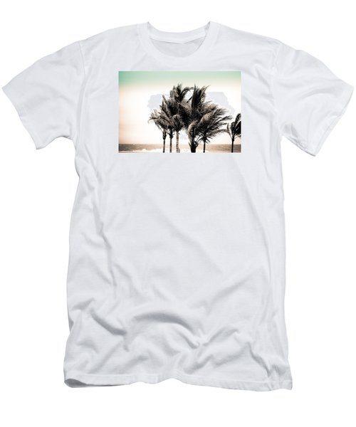 Shades Of Palms - Aqua Brown Men's T-Shirt (Slim Fit) by Colleen Kammerer