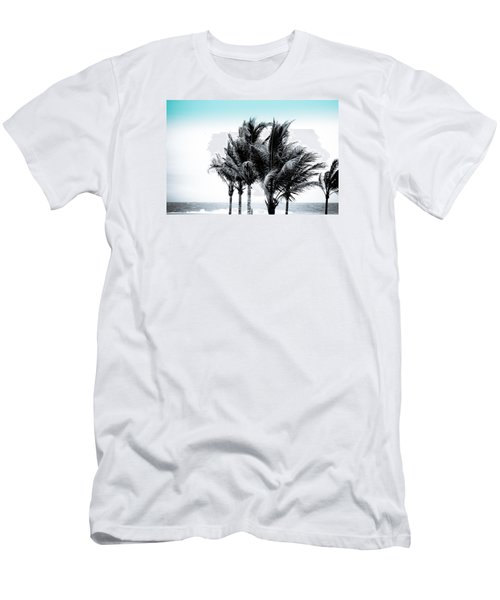 Shades Of Palms - Silver Blue Men's T-Shirt (Slim Fit) by Colleen Kammerer