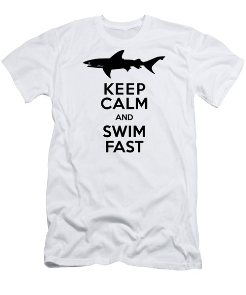 Sharks Keep Calm And Swim Fast Men's T-Shirt (Slim Fit) by Antique Images
